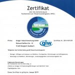 Zertifikat über Anerkennung als Fachbetrieb nach Wasserhaushaltsgesetz